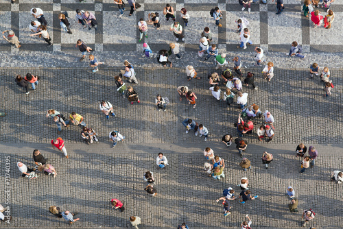 Foto op Canvas Praag Tourists at Prague Old Town Square