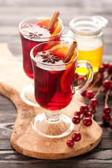 Christmas hot drink mulled wine with spices and honey