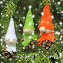 homemade  little elves.Decoration for Christmas time