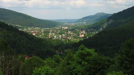 time lapse of Carpathian Mountains and small village, panorama