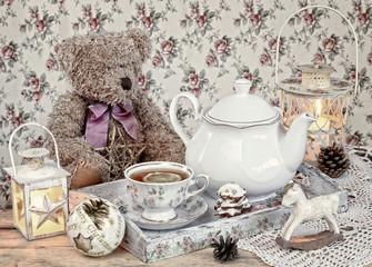 christmas tea in retro style