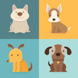 Vector set of cartoon dogs in flat style