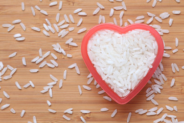 Rice in heart bowl