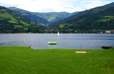 Summer recreation on the meadow around the Lake Zell