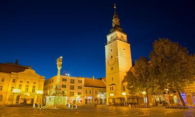 Trnava - Main square and the holy Trinity baroque column.