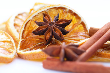 Anise star and food background