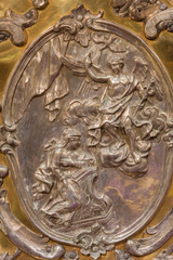 Trnava - The metal relief of the Annunciation scene