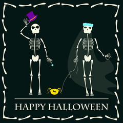 Halloween  skeleton couple vector background