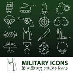 military outline icons