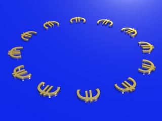 Europe Euro Sign Flag 3D Concept