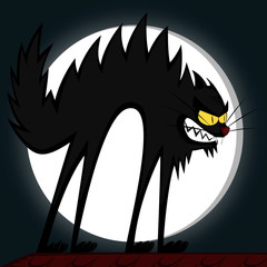 Cool cats - an angry black tomcat's fury in front of a full moon