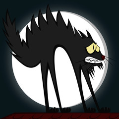 Cool cats - a very scared cartoon tomcat in front of a full moon