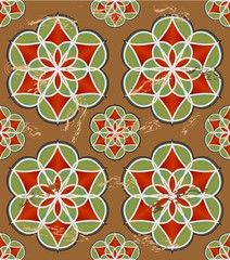 Colorful grunge tile with geometric seamless ornament