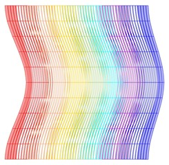 Tile with vertical rainbow waves
