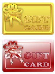 Gift card with ribbon in two color variants
