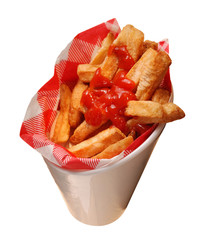 French fries-tomato sauce. Isolated