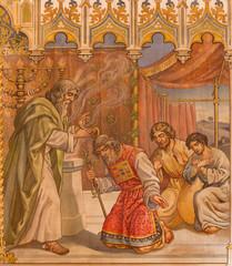 Trnava - fresco of fhe scene Moses benedicite of Aron