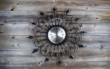 Vintage Clock on Aged Wood