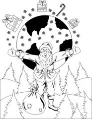 Santa Claus with globe