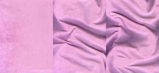 Set of pink suede leather textures