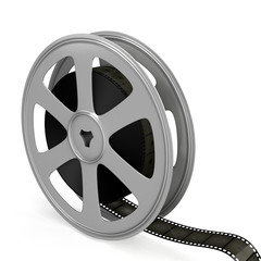 Film reel over white background.