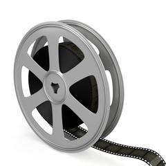 Film reel over white background.