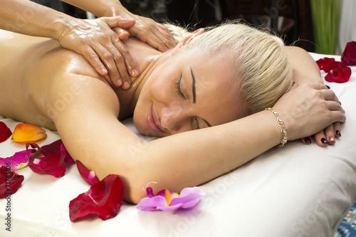 girl on procedure Balinese massage in the beauty salon © lester120
