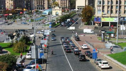 timelapse of traffic at central crossroads Kiev, Ukraine