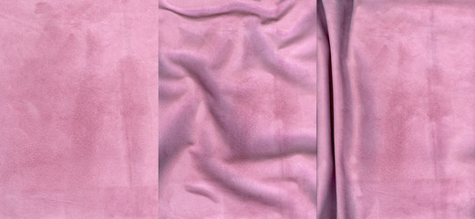 Set of rose suede leather textures