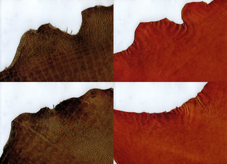 Ragged edges terracotta and brown crocodile leather texture