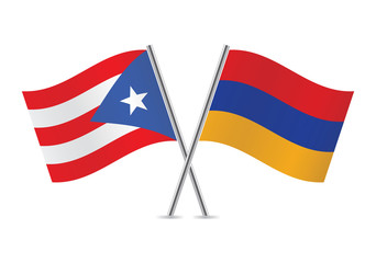 Puerto Rican and Armenian flags. Vector illustration.