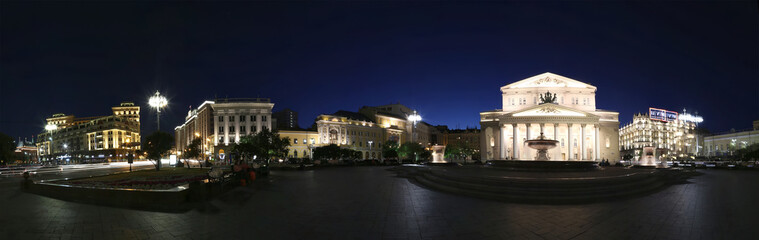 Panoramic view of the Theatre Square and Bolshoi Theatre, Moscow