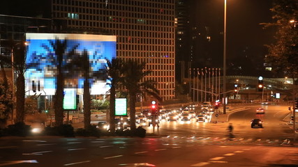 Life on the road the night of Tel Aviv. Israel