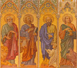 Trnava - The neo-gothic fresco of four  evangelists