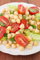 salad with chickpea on plate