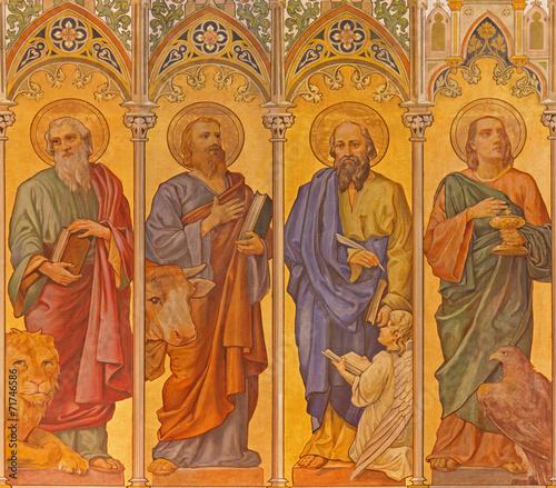 Trnava - The neo-gothic fresco of four  evangelists