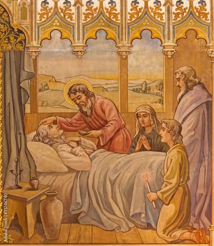 Trnava - The neo-gothic fresco the Apostles at viaticum - 71746740