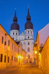 Trnava - The gothic Saint Nicholas church at dusk.