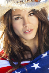 Woman Girl in American Flag and Cowboy Hat