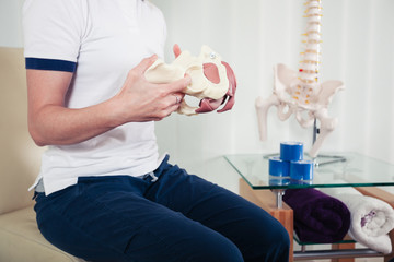 Therapist with model of pelvis