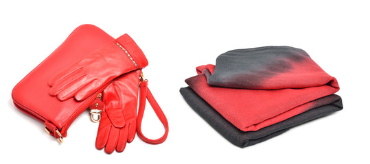 Stylish woman coral bag, gloves and a scarf