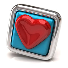Heart on blue button