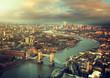 Obrazy na płótnie, fototapety, zdjęcia, fotoobrazy drukowane : London aerial view with  Tower Bridge in sunset time