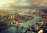 Fototapety London aerial view with  Tower Bridge in sunset time