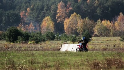 motorcycle field forest