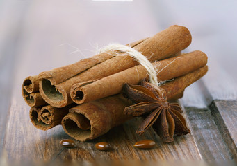 Cinnamon sticks and star anise.
