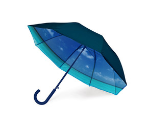 Double sided umbrella with inside view of tropical beach