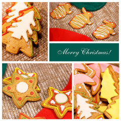 Сollage. Christmas ginger biscuits