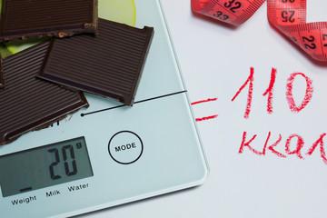 Шоколад, весы, сантиметры и калории