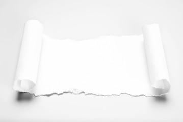 Blank paper scrap in scroll form